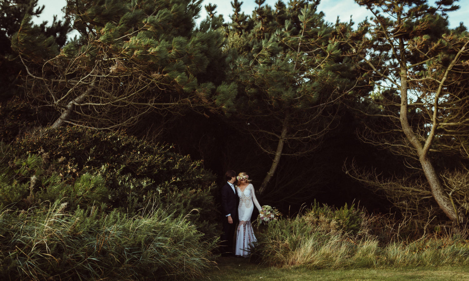 eclectic bride and groom by New Forest Wedding Photographer