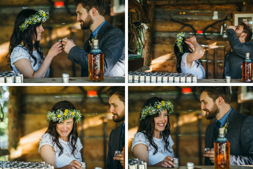 bride and groom drinking whiskey by Hawarden wedding festival