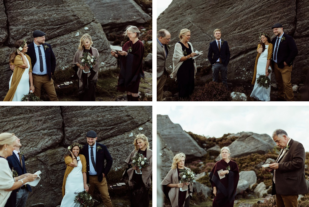 guests saying a speech during elopement on the hills