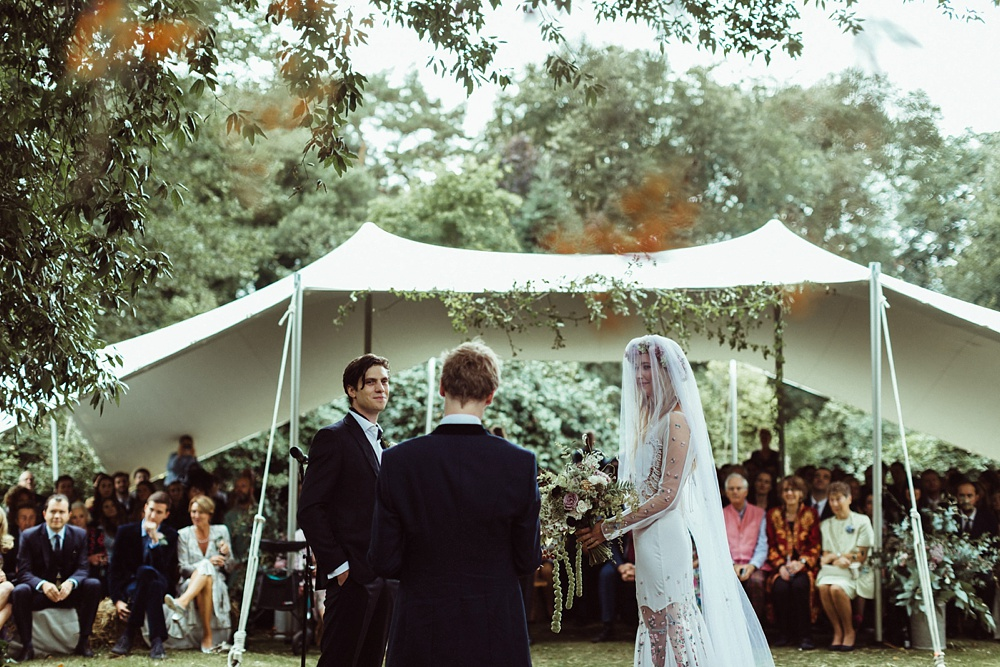 outdoor wedding ceremony by New Forest wedding photographer
