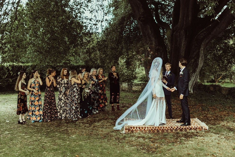 Outdoor wedding ceremony by New Forest wedding photographers