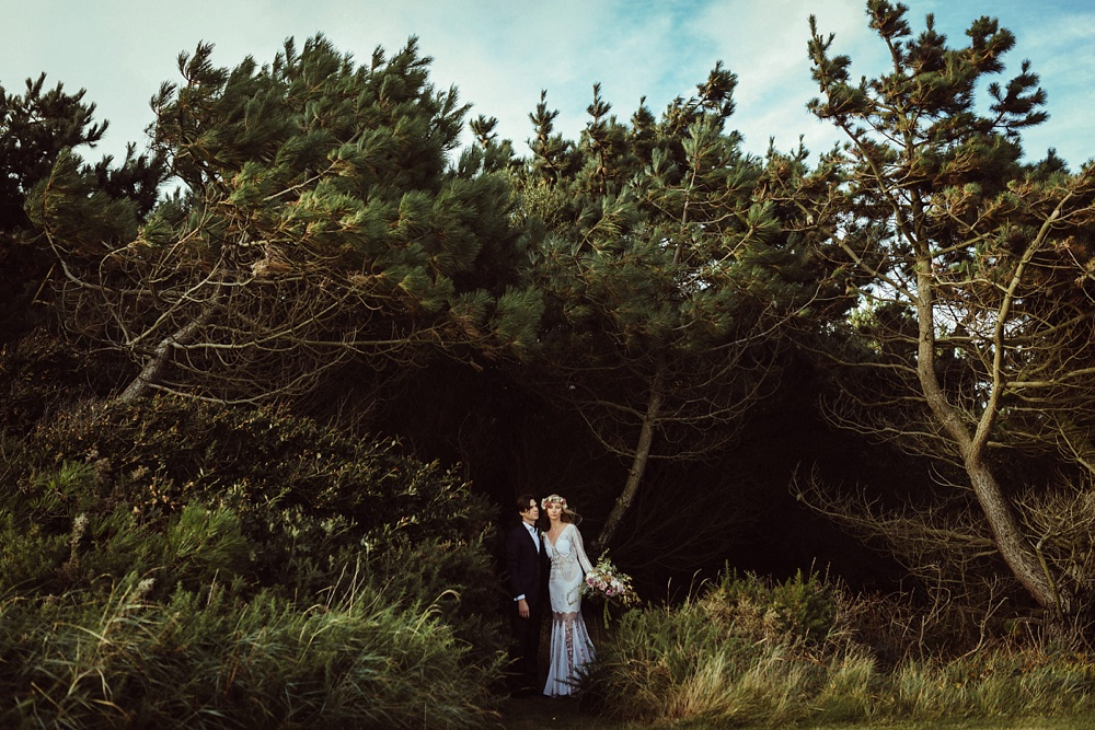 bride and groom portraits outdoor in New forest England