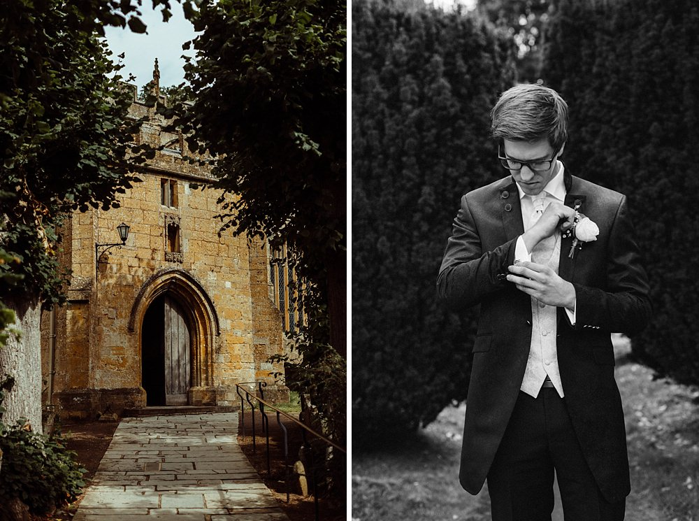groom waiting for bride at church in Gloucestershire