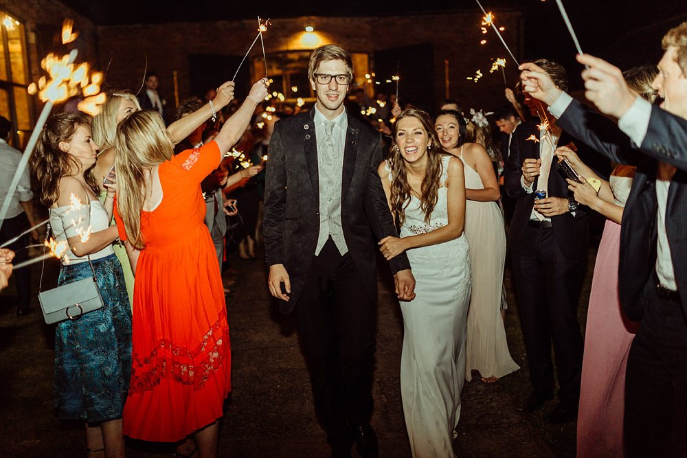 sparklers exit by Cotswolds wedding photographer