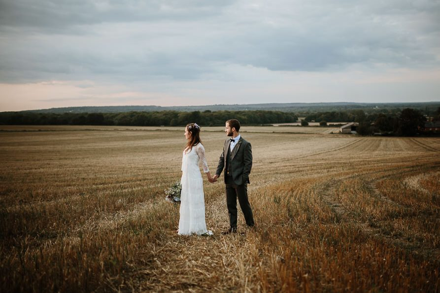 Sunset portraits at Wanborough Great Barn Wedding