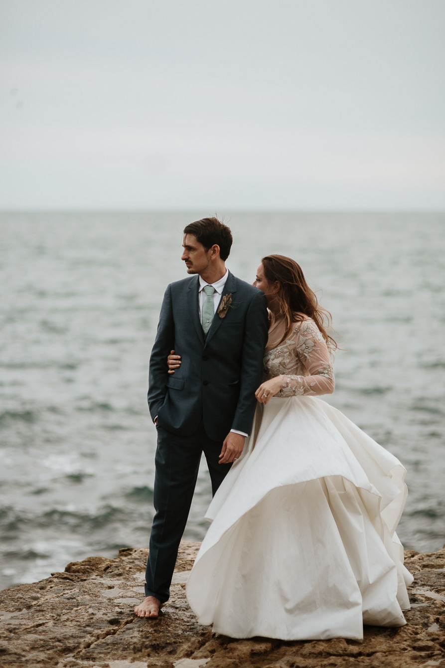 Trash the dress wedding portraits Portland Bill