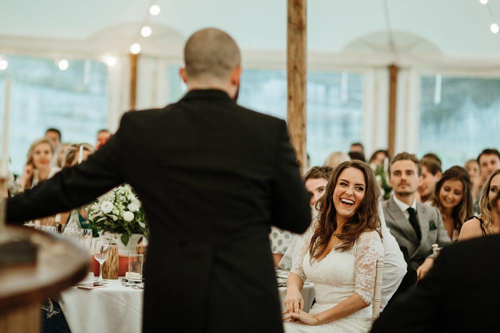 groom speech during dorset marquee wedding