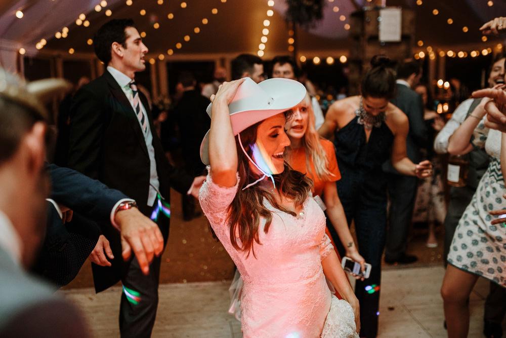 bride dancing at marquee wedding dorset