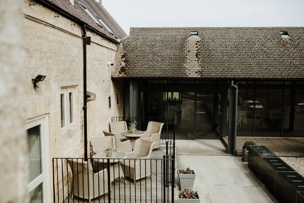 outdoor garden area Lapstone Barn by Cotswolds Wedding photographers