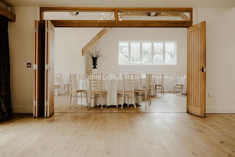 Reception area Cotswolds wedding barn