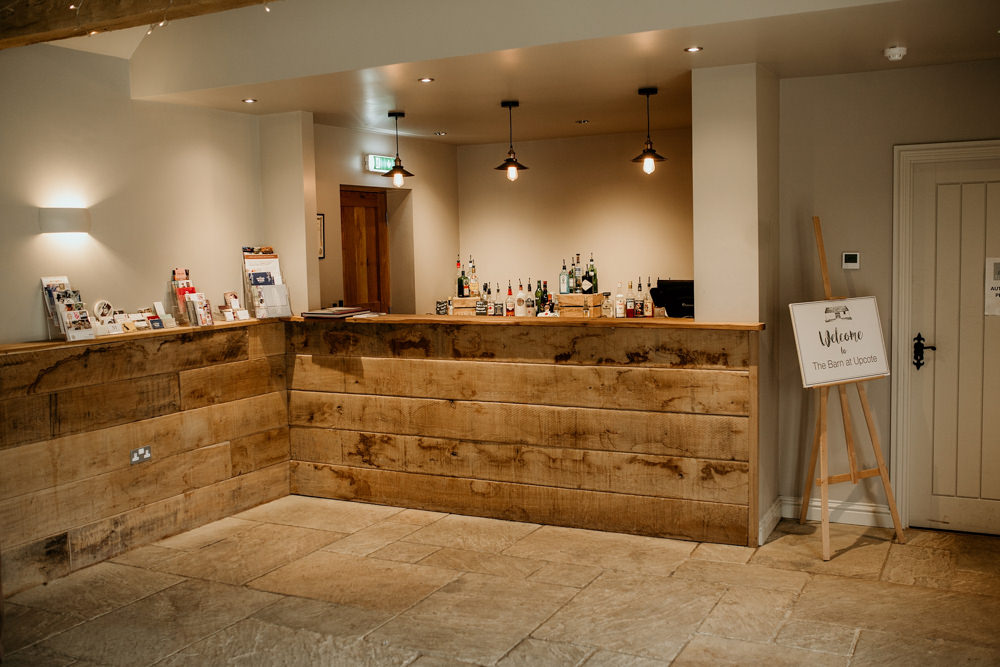 bar area at The Barn at Upcote Cotswolds wedding venue