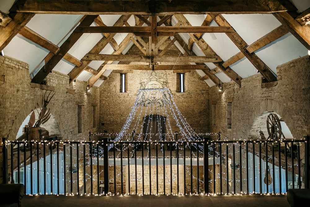upper lever at The Great Thythe Barn Cotswolds Wedding venue