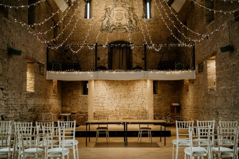 ceremony area inside the stone barn at The Great Thythe Barn