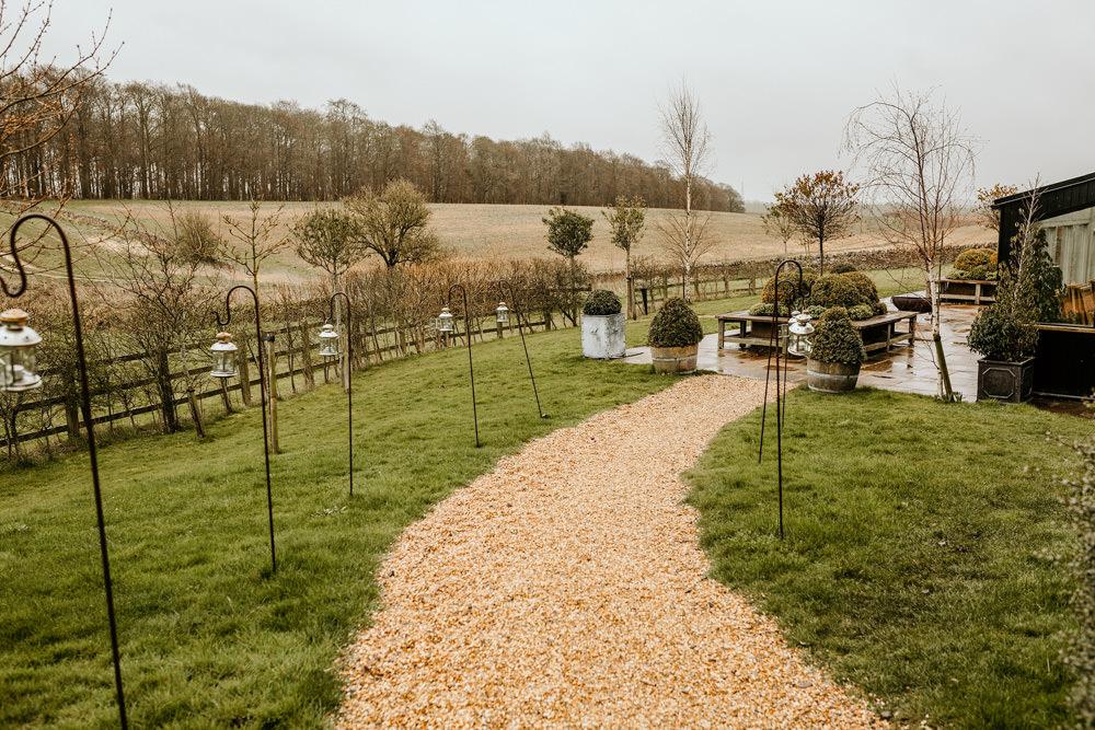 garden area at Stone Barn with a view of the Cotswolds