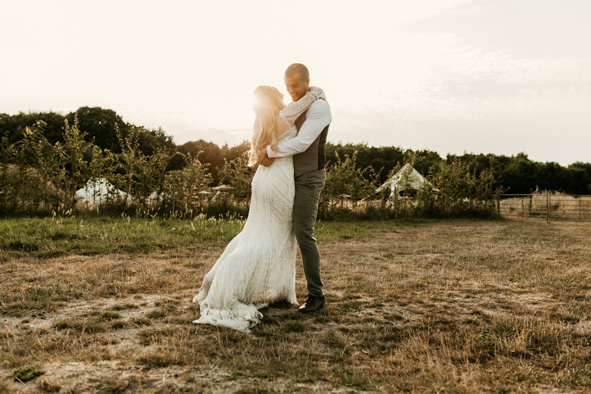 golden hour wedding portraits at preston court wedding venue by Canterbury wedding photographers Green Antlers Photography
