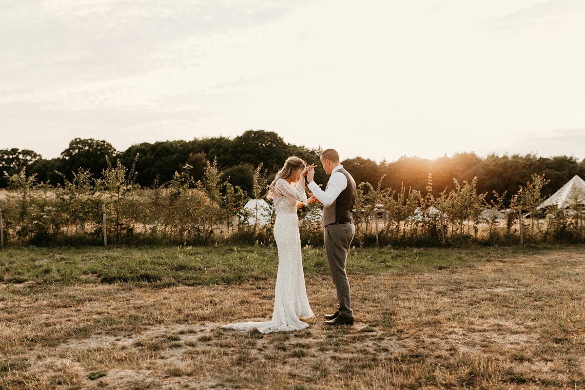 sunset light for wedding portrait session at preston court wedding venue by Canterbury wedding photographers