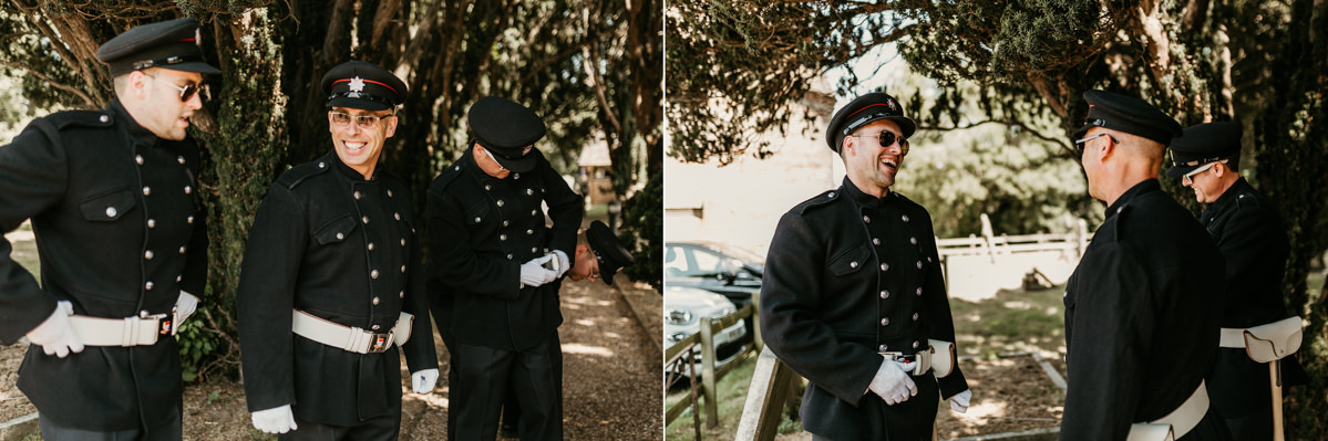 firemen before the wedding ceremony by Canterbury wedding photographers