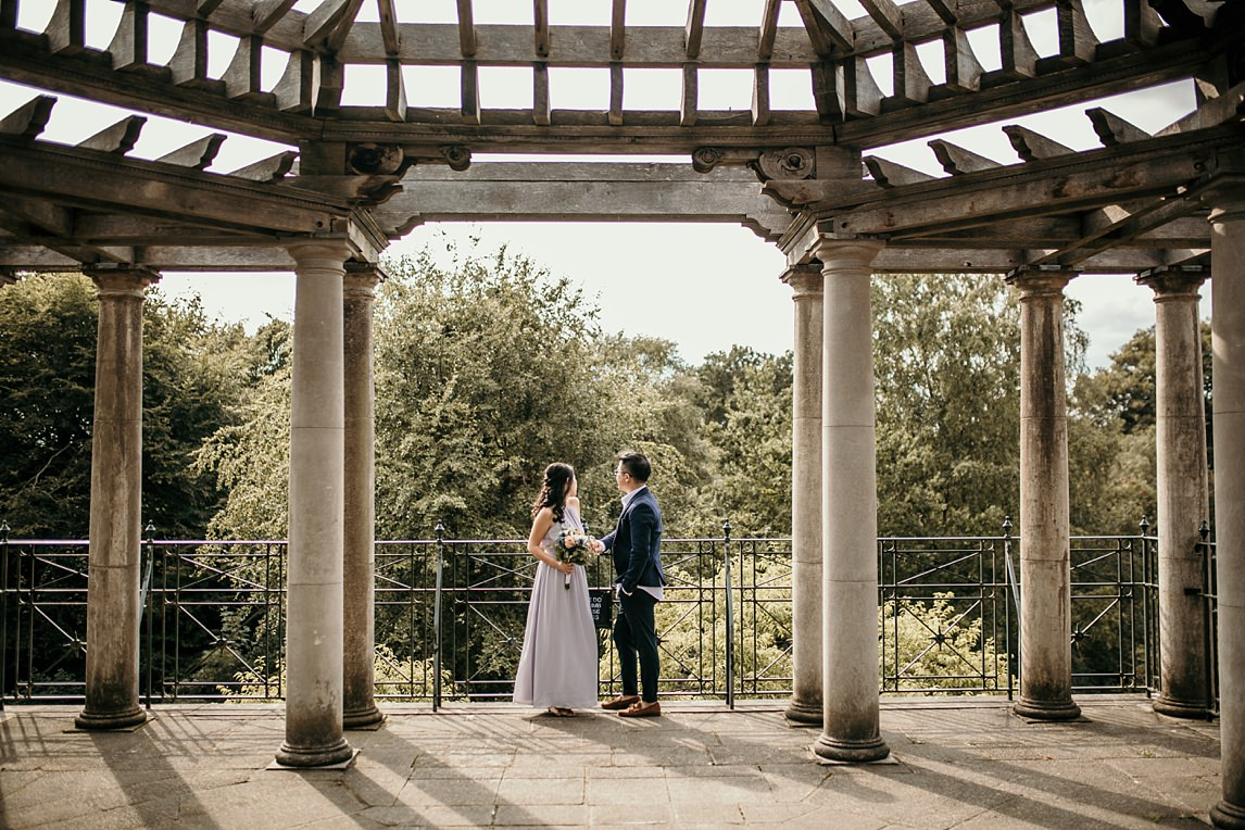 engaged couple in Pergola Gardens, one of London's hidden gems
