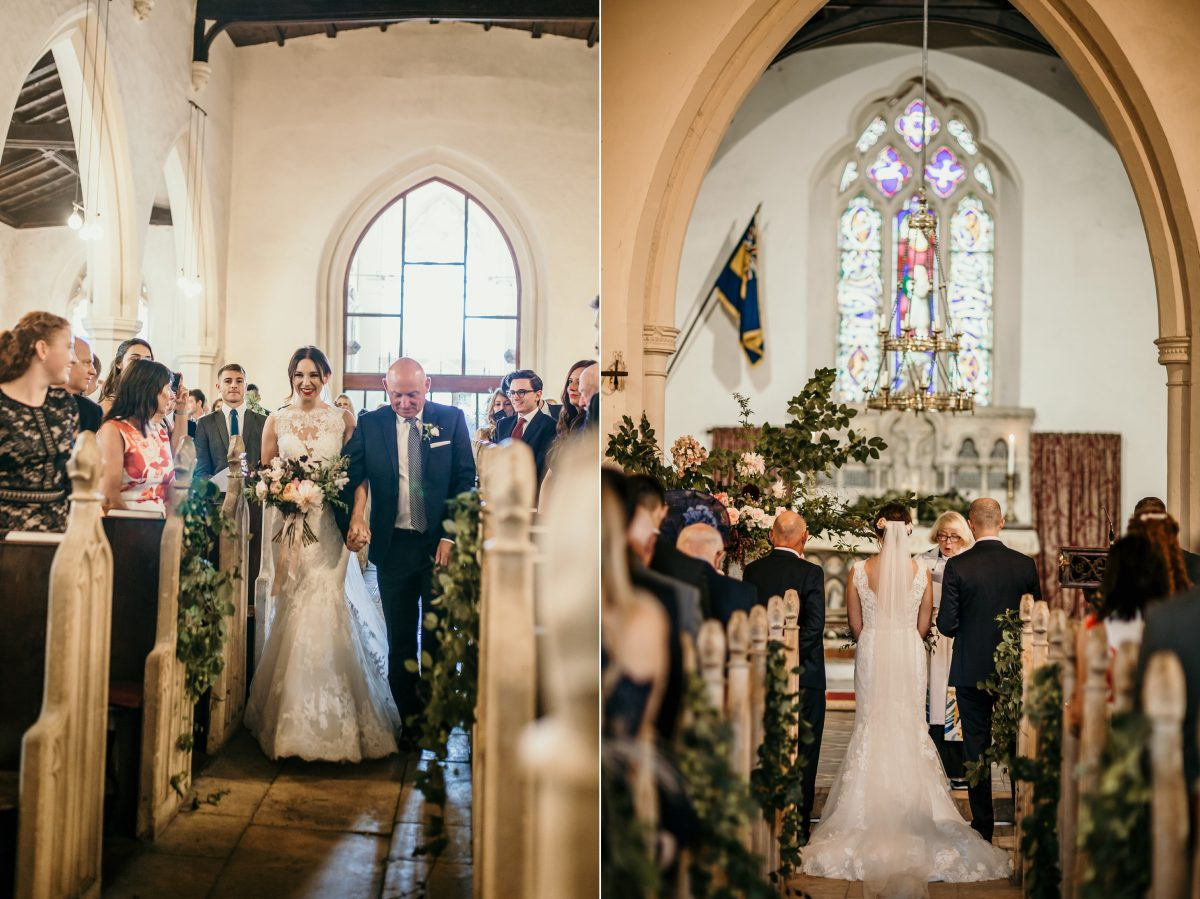 church ceremony with bride walk down the aisle by cotswolds wedding photographer