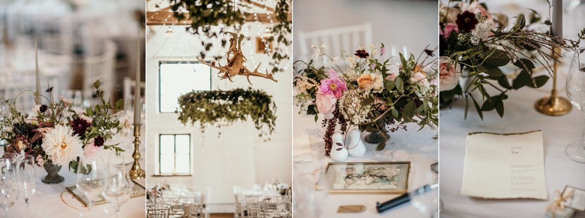 wedding details at Merriscourt Barn Wedding venue by Cotswolds wedding photographer