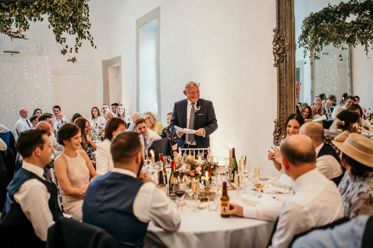 father of the bride speech during the reception at Merriscourt Barn Wedding venue by Cotswolds wedding photographer