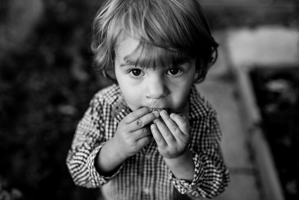 black and white image of boy eating tomatoes ni the garden in Cotswolds