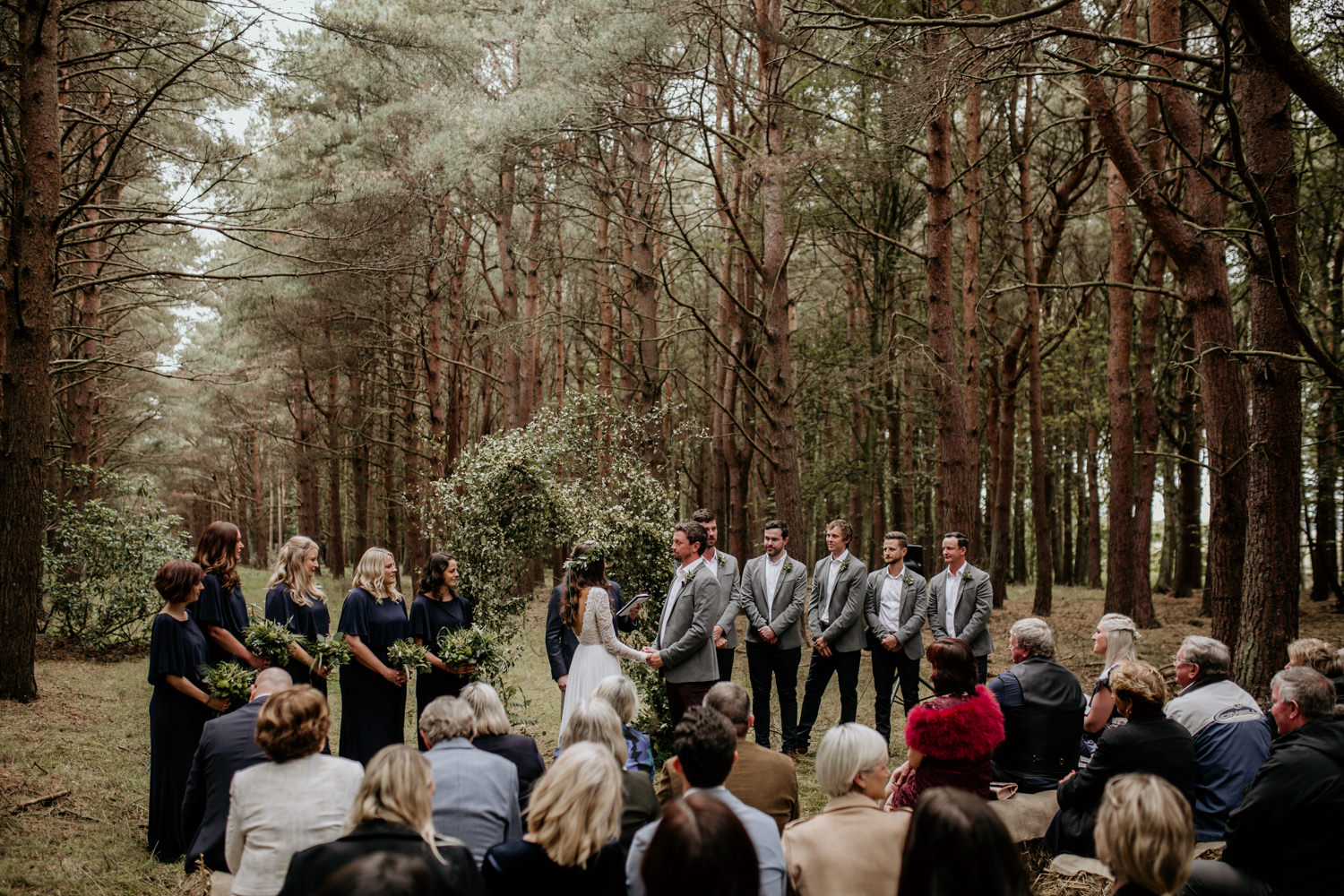 outdoor wedding ceremony in the forest in Scotland