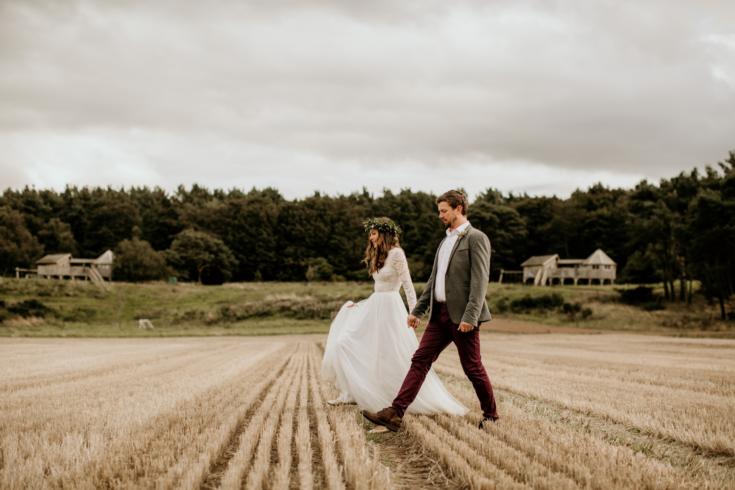 bride and groom wedding portraits during their Harvest Moon Holidays Scotland