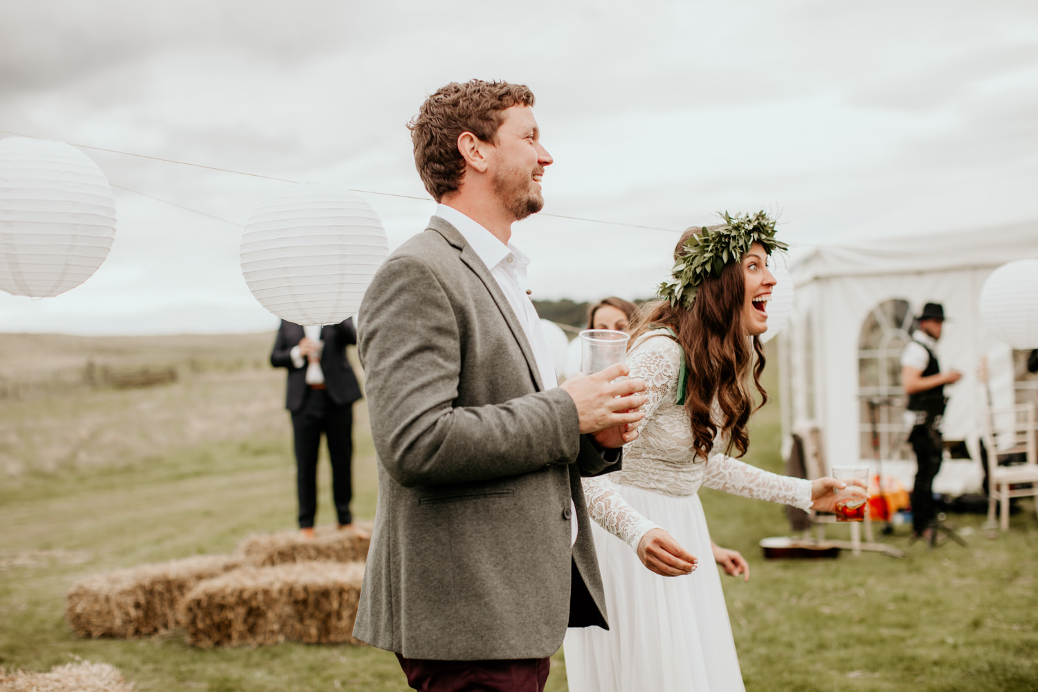 bride surprised during the flash mob at Harvest Moon Holidays Scotland