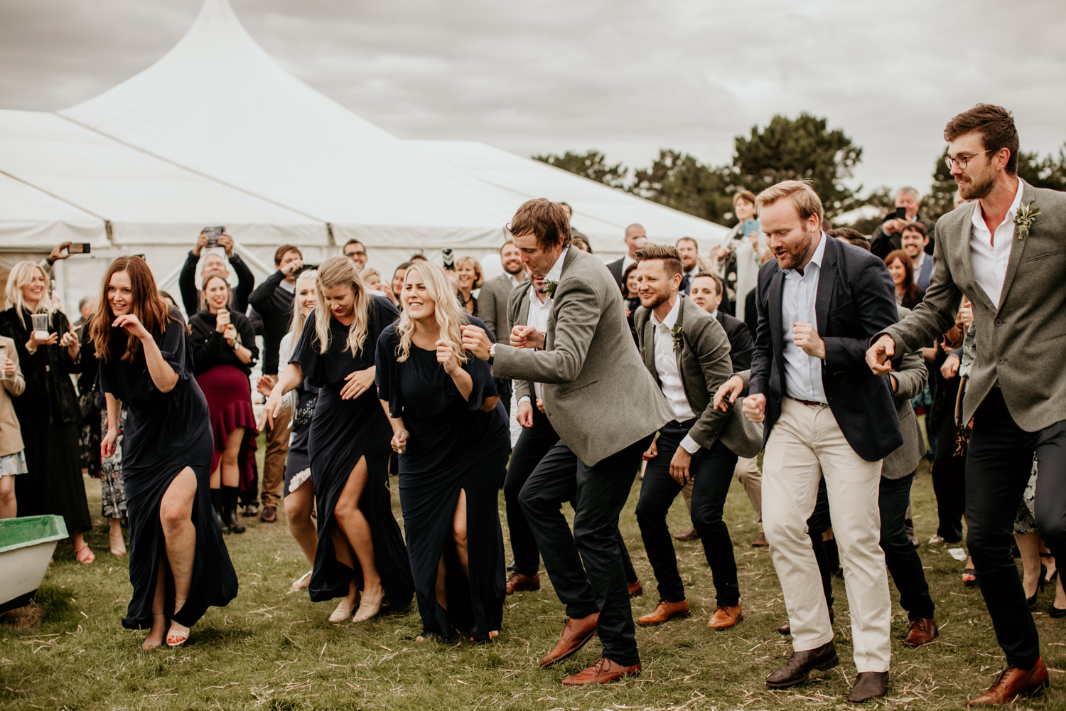 guests dancing during a flash mob to surprise a bride at Harvest Moon Holidays Scotland