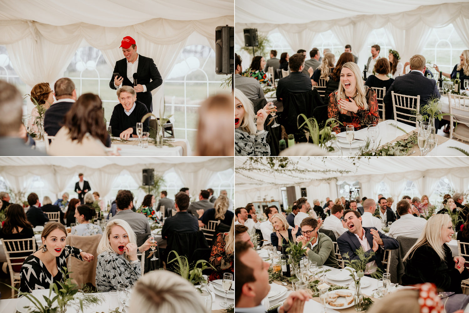 wedding speeches during the marquee wedding at Harvest Moon Weddings