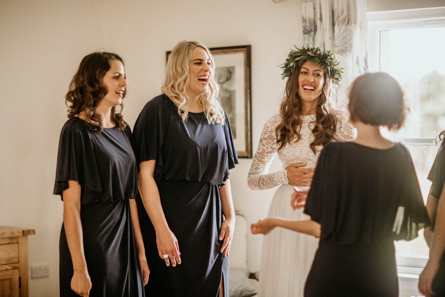 bride and bridesmaids on the morning of the wedding at Harvest Moon Holidays Scotland