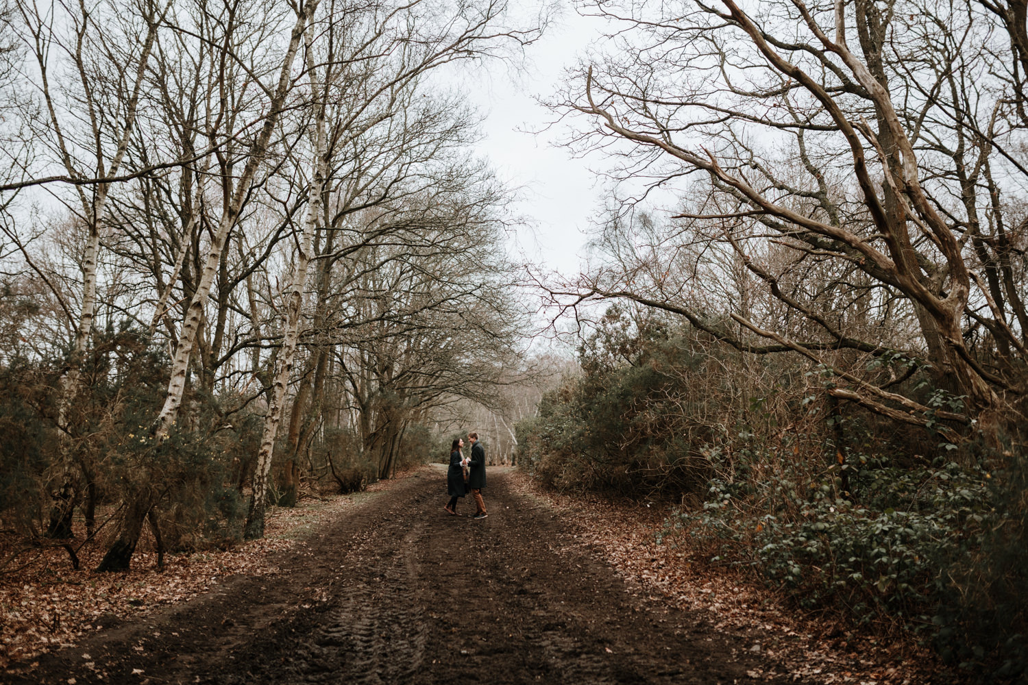 engagement park in Wimbledon Common, london, with couple walking on a path in the forest