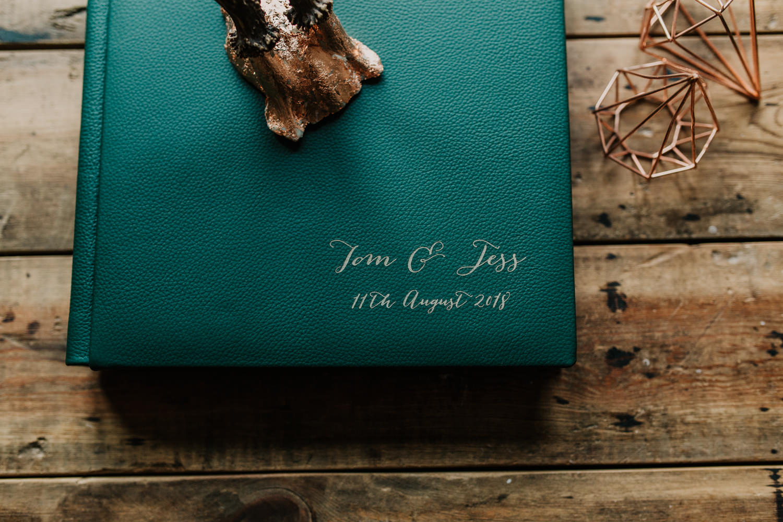 engraved wedding album sample for green cover