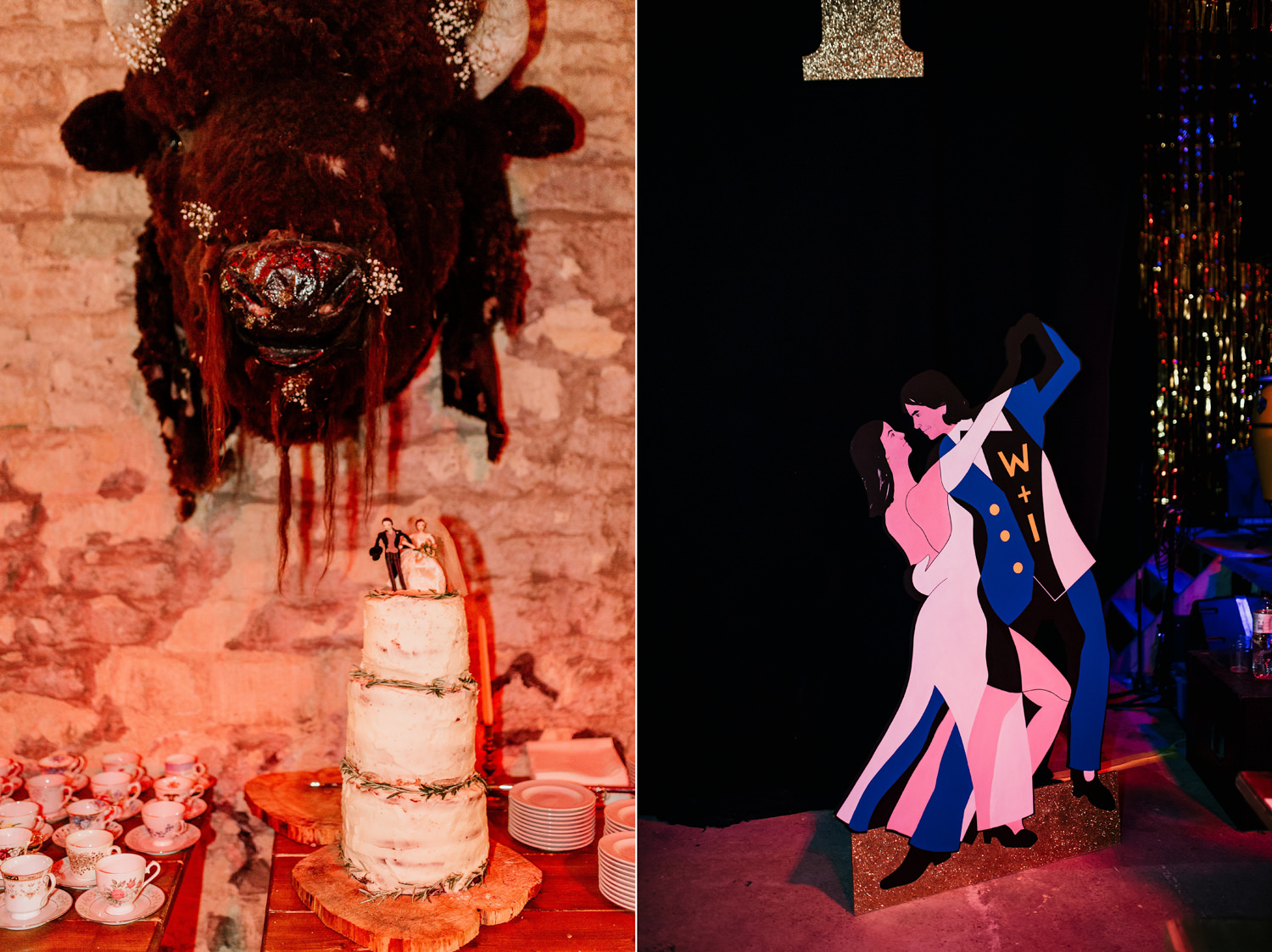wedding cake and cardboard cut of the bride and groom at The Goods shed for a stroud wedding