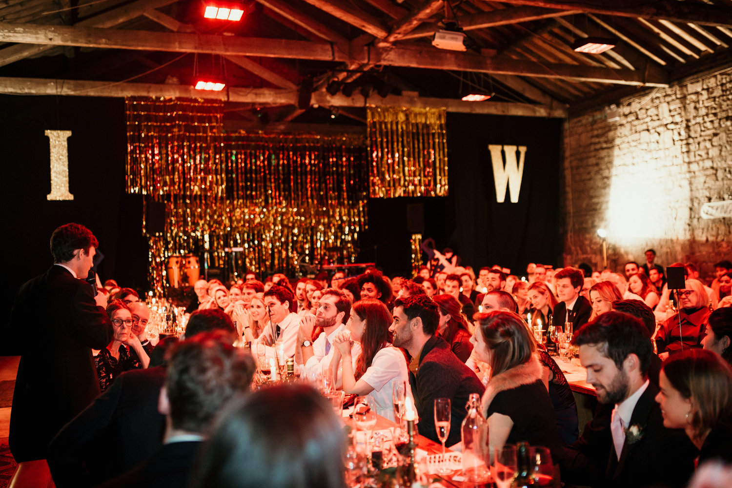 speeches during a wedding reception at The Goods Shed for a Stroud Wedding in Cotswolds