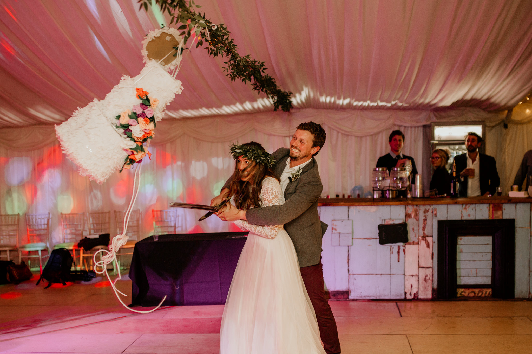 pinata instead of wedding cake for wedding reception entertainment ideas