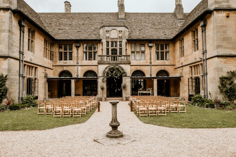 outdoor wedding ceremony at Coombe Lodge Blagdon wedding venue