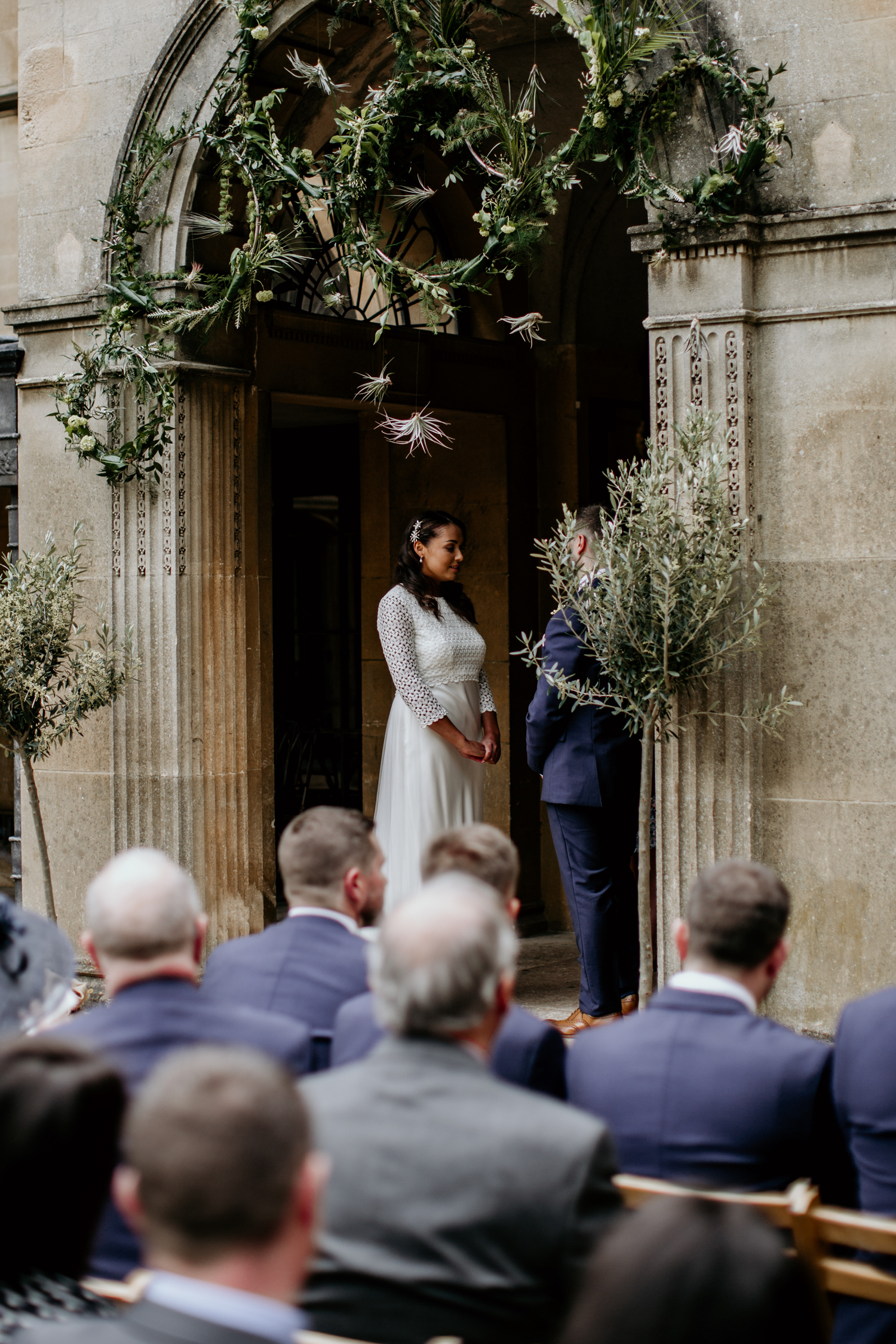 wedding vows during an outdoor wedding ceremony at Coombe Lodge Blagdon wedding venue