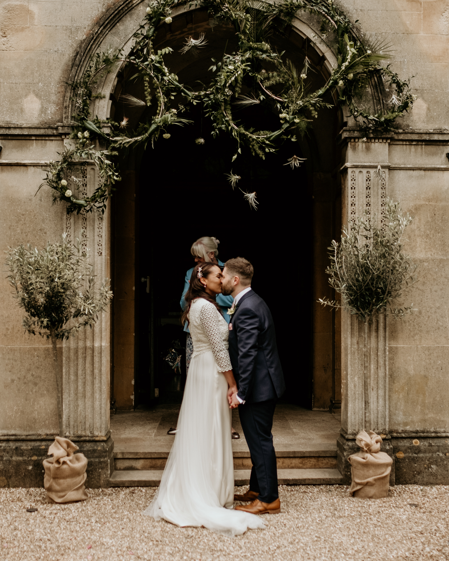 first kiss at Coombe Lodge Blagdon wedding