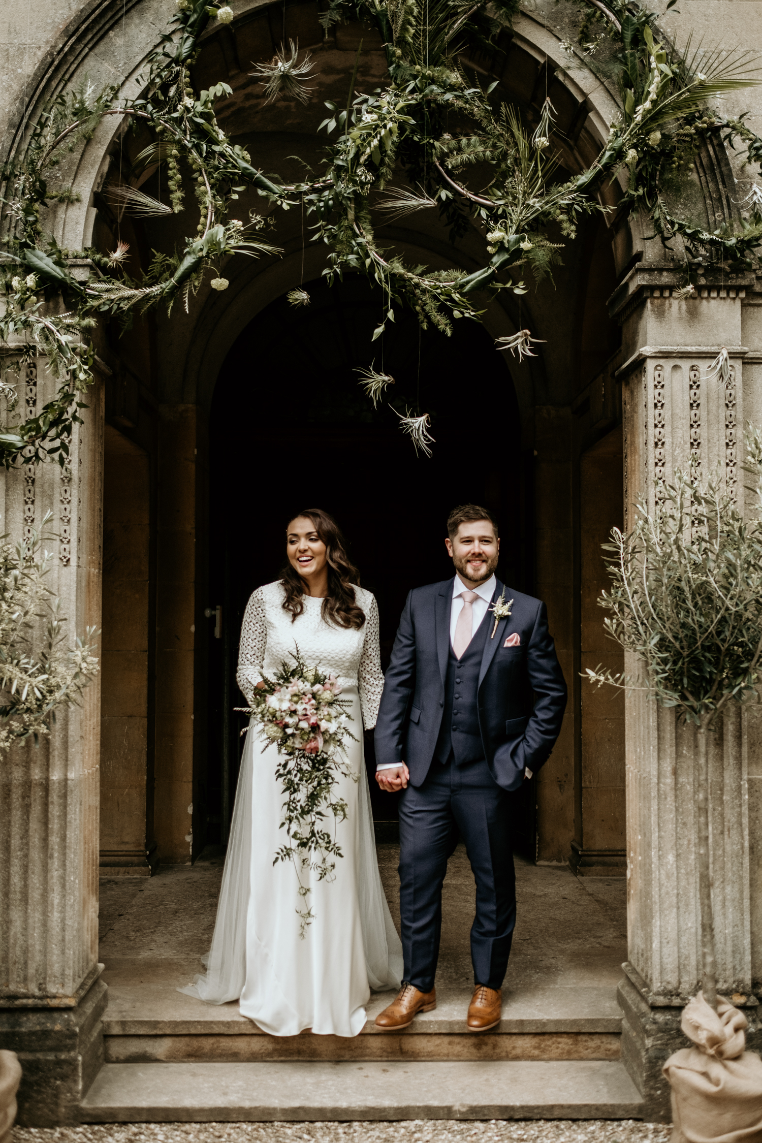 bride and groom during the outdoor ceremony at Coombe Lodge Blagdon wedding
