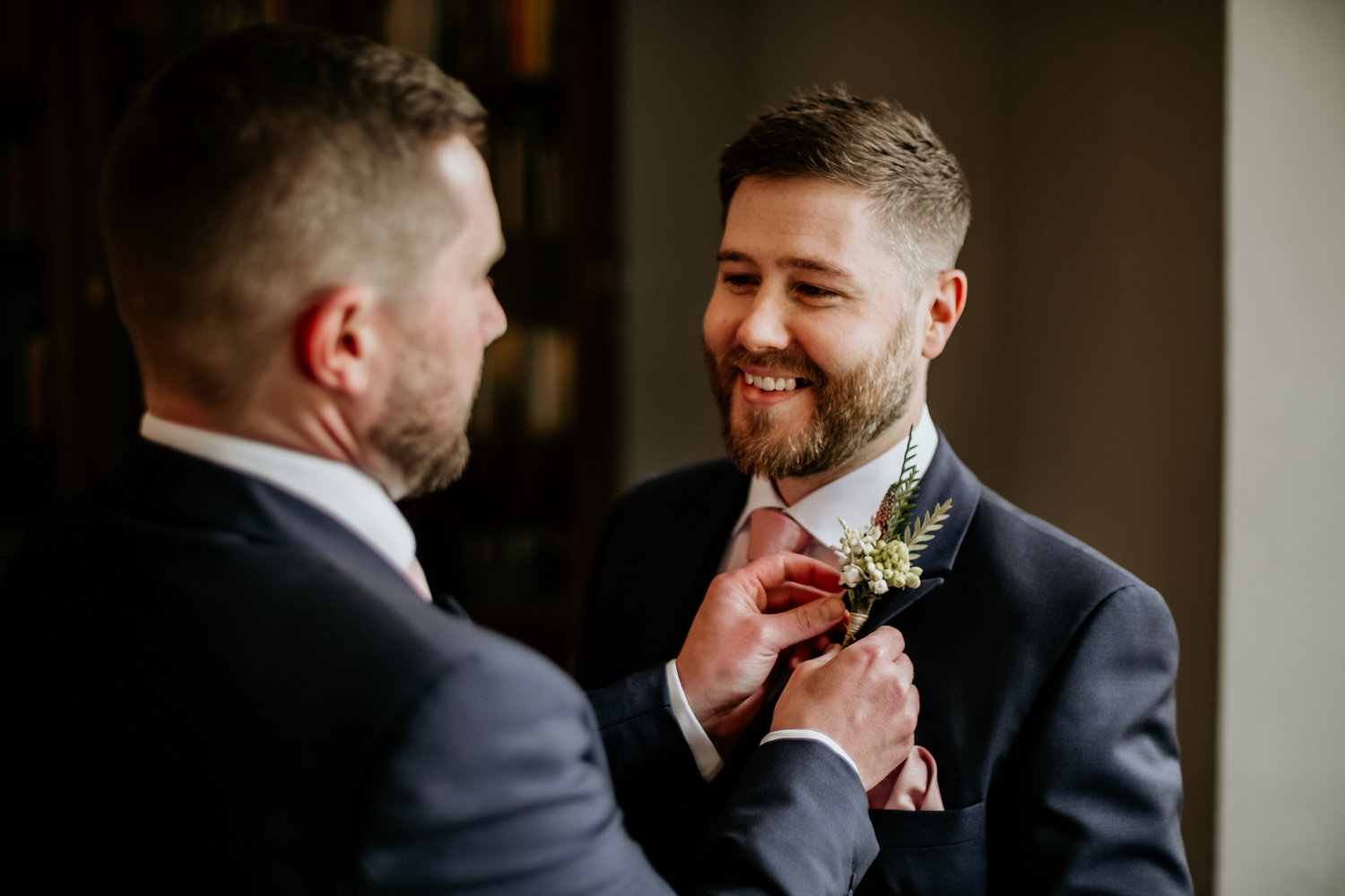 groom getting ready in the morning at Coombe Lodge Blagdon wedding venue