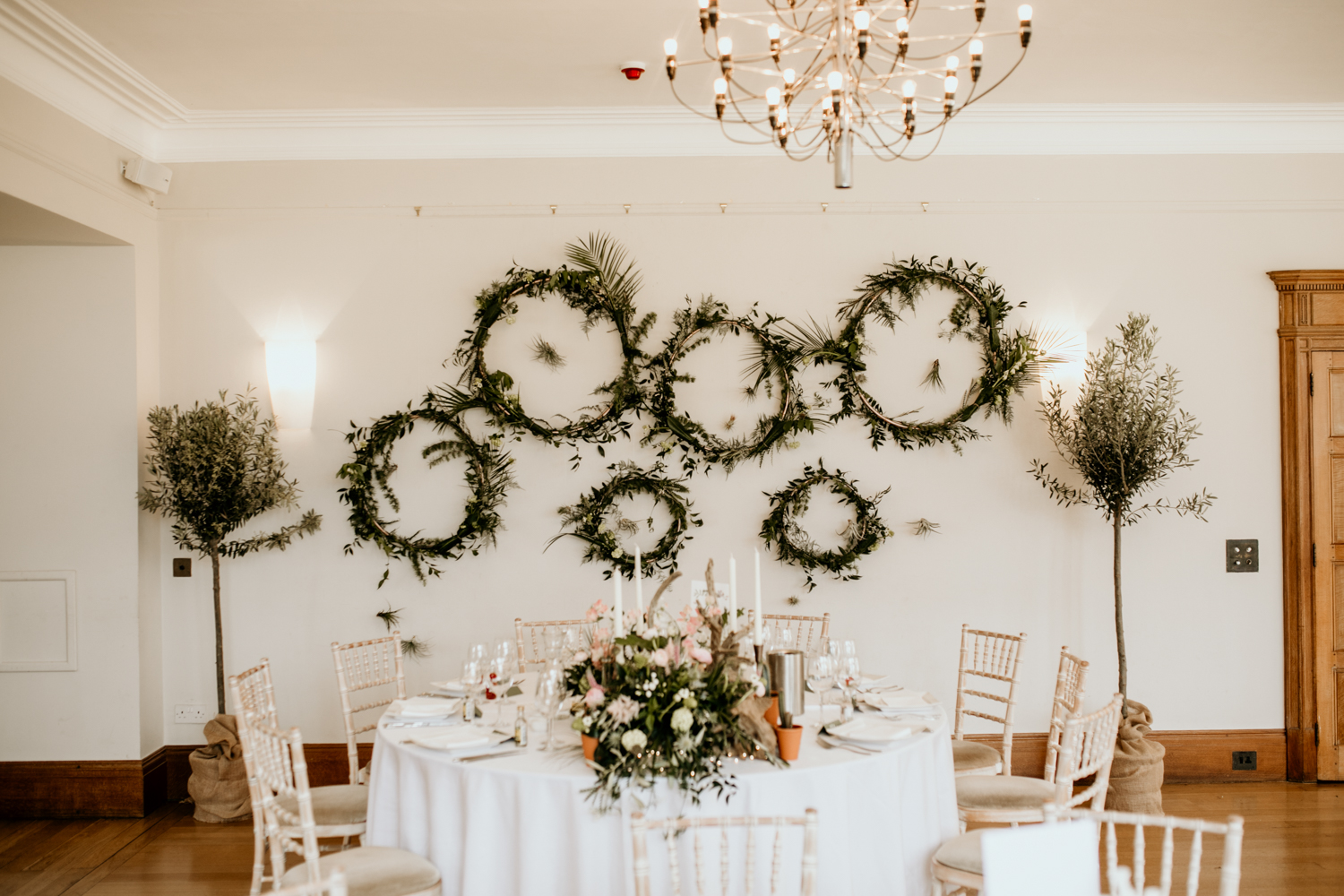 top table for bride and groom at Coombe Lodge Blagdon wedding venue