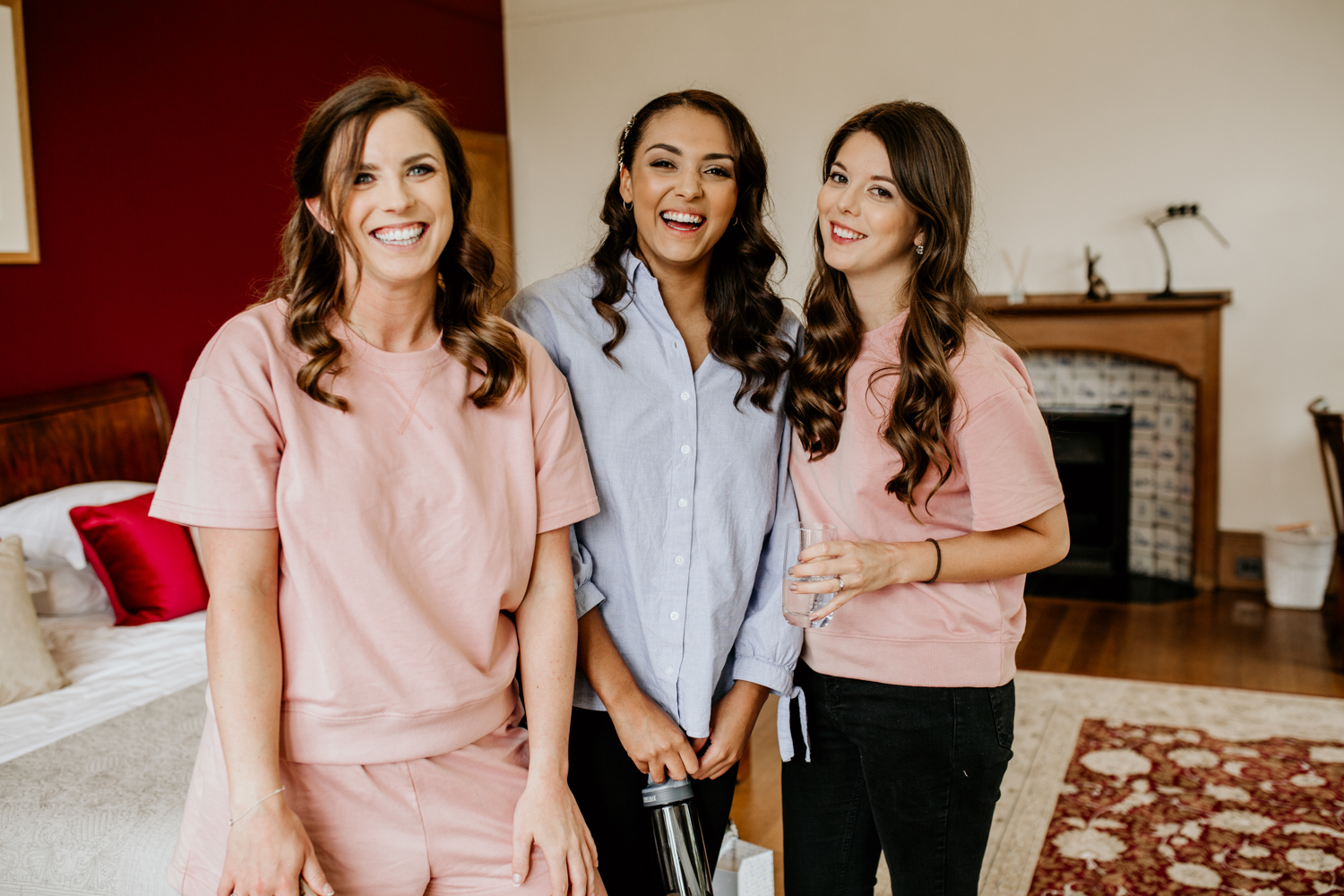 bridesmaids with bride in the morning of the Coombe Lodge Blagdon wedding