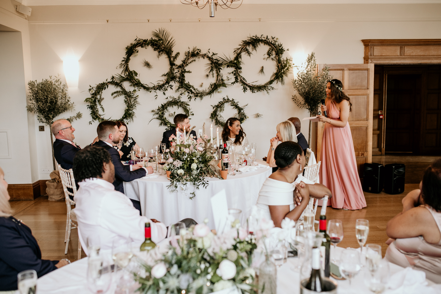 bridesmaids speech during the wedding reception at Coombe Lodge Blagdon wedding venue