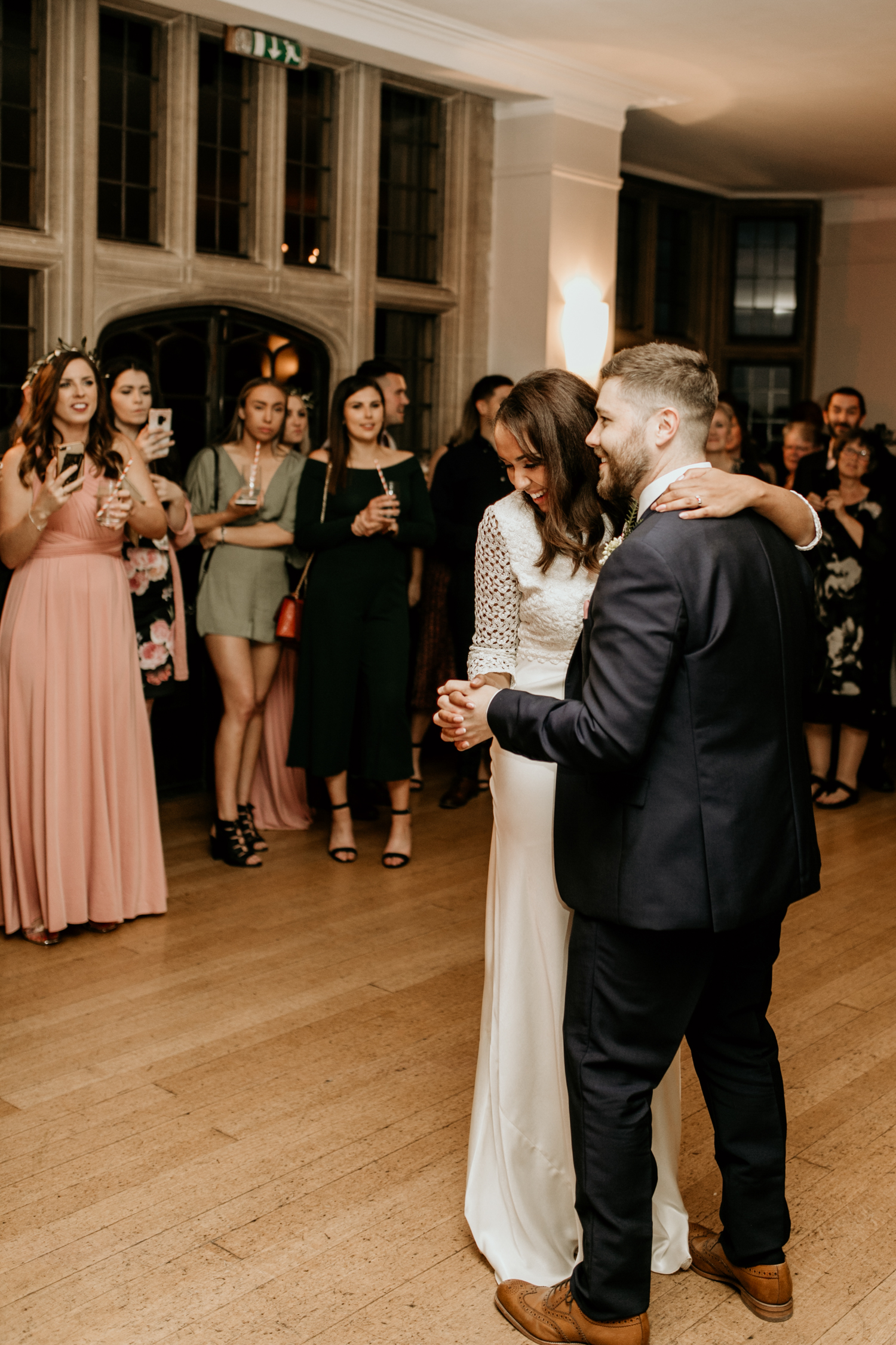bride and groom first dance at Coombe Lodge Blagdon wedding venue