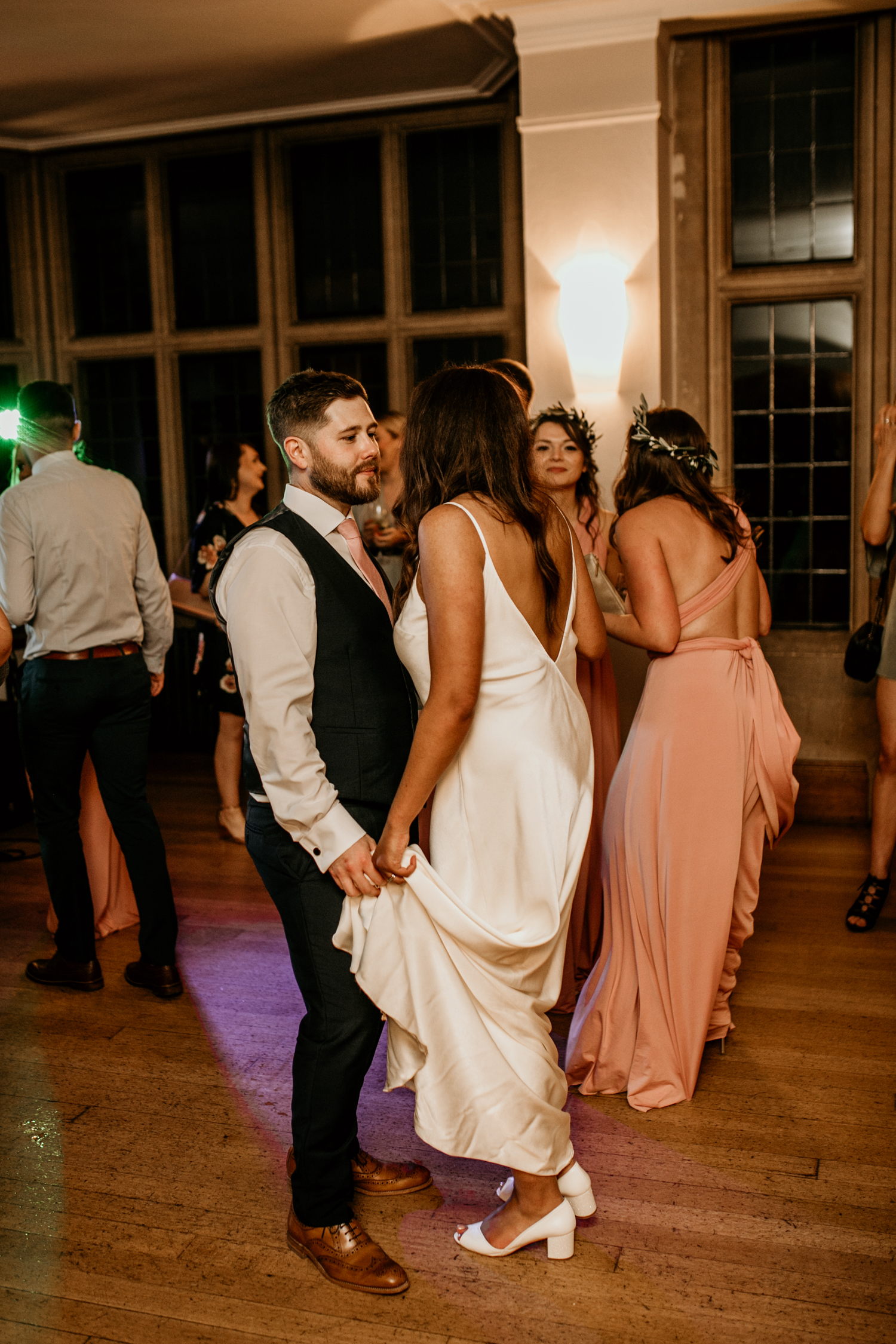bride and groom dancing during their Coombe Lodge Blagdon wedding reception