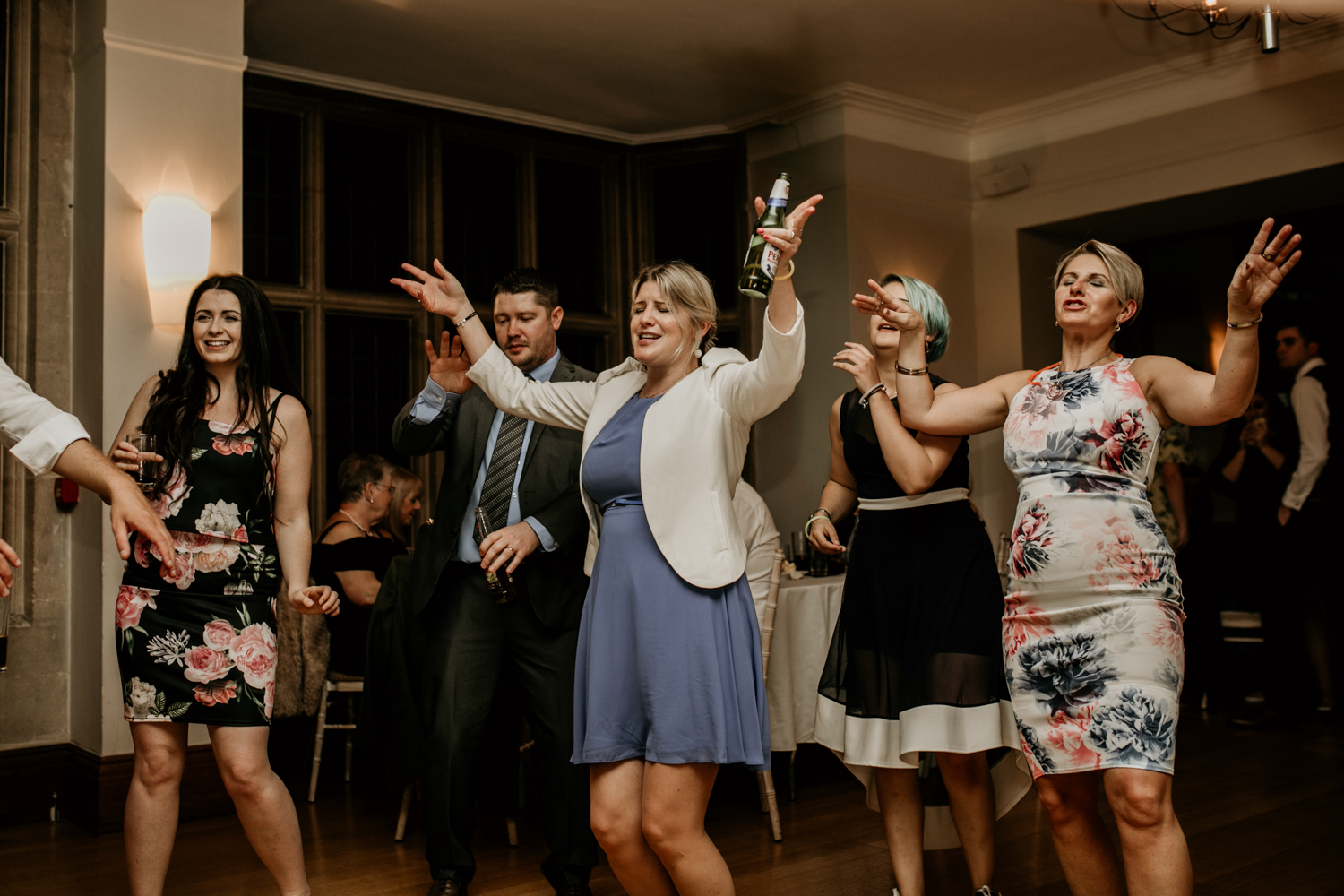 guests dancing during wedding reception in somerset