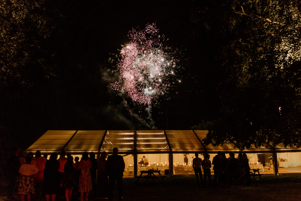 fireworks for a Poulton wedding in the cotswolds