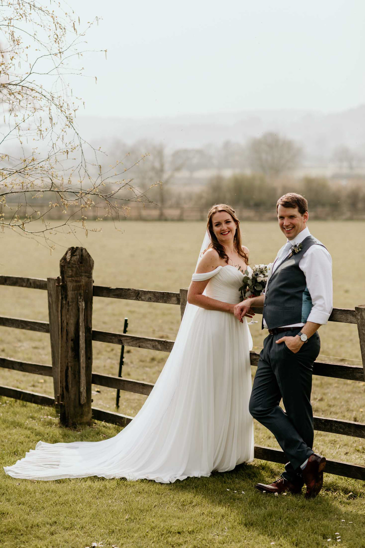 bride and groom for their hyde house wedding Cotswolds